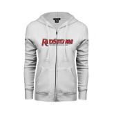 ENZA Ladies White Fleece Full Zip Hoodie-RedStorm
