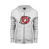ENZA Ladies White Fleece Full Zip Hoodie-Cyclone O