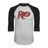White/Black Raglan Baseball T-Shirt-Rio Distressed