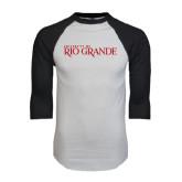 White/Black Raglan Baseball T-Shirt-Institutional Mark