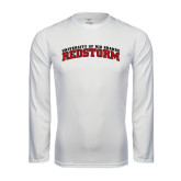 Performance White Longsleeve Shirt-Arched RedStorm Bottom