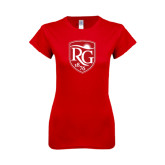 Next Level Ladies SoftStyle Junior Fitted Red Tee-Shield Logo