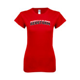 Next Level Ladies SoftStyle Junior Fitted Red Tee-Arched RedStorm Bottom