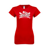 Next Level Ladies SoftStyle Junior Fitted Red Tee-Softball Crossed Bats