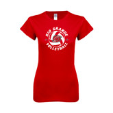 Next Level Ladies SoftStyle Junior Fitted Red Tee-Circular Volleyball