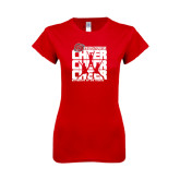 Next Level Ladies SoftStyle Junior Fitted Red Tee-Cheer Stacked