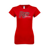 Next Level Ladies SoftStyle Junior Fitted Red Tee-Soccer-Womens