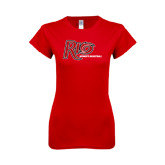 Next Level Ladies SoftStyle Junior Fitted Red Tee-Basketball-Womens