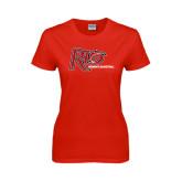 Ladies Red T Shirt-Basketball-Womens