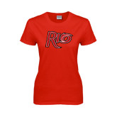 Ladies Red T Shirt-Rio Distressed