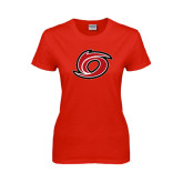 Ladies Red T Shirt-Cyclone O