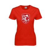 Ladies Red T Shirt-Shield Logo