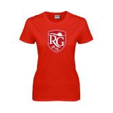 Ladies Red T Shirt-Shield Logo