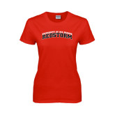 Ladies Red T Shirt-Arched RedStorm Bottom
