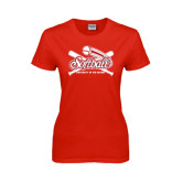 Ladies Red T Shirt-Softball Crossed Bats