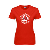 Ladies Red T Shirt-Circular Volleyball