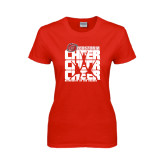 Ladies Red T Shirt-Cheer Stacked