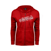 ENZA Ladies Red Fleece Full Zip Hoodie-RedStorm Basketball