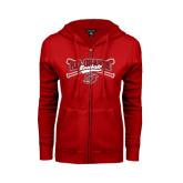 ENZA Ladies Red Fleece Full Zip Hoodie-Rio Grande Baseball