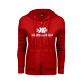 ENZA Ladies Red Fleece Full Zip Hoodie-XC Cross Country