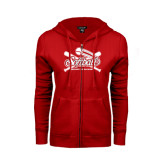 ENZA Ladies Red Fleece Full Zip Hoodie-Softball Crossed Bats