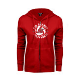 ENZA Ladies Red Fleece Full Zip Hoodie-Circular Volleyball
