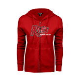 ENZA Ladies Red Fleece Full Zip Hoodie-Soccer-Womens