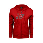 ENZA Ladies Red Fleece Full Zip Hoodie-Basketball-Womens