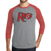 Grey/Red Heather Tri Blend Baseball Raglan-Rio