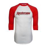 White/Red Raglan Baseball T-Shirt-RedStorm