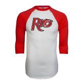 White/Red Raglan Baseball T-Shirt-Rio