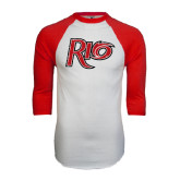 White/Red Raglan Baseball T-Shirt-Rio Distressed