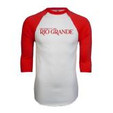 White/Red Raglan Baseball T-Shirt-Institutional Mark