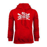 Red Fleece Hoodie-Softball Crossed Bats