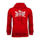 Red Fleece Hood-Softball Crossed Bats