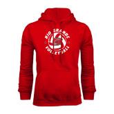 Red Fleece Hood-Circular Volleyball