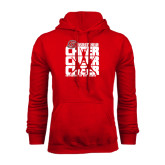 Red Fleece Hoodie-Cheer Stacked