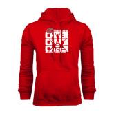 Red Fleece Hood-Cheer Stacked