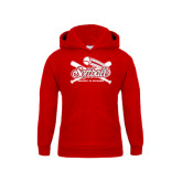 Youth Red Fleece Hoodie-Softball Crossed Bats