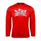 Performance Red Longsleeve Shirt-Softball Crossed Bats