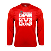 Performance Red Longsleeve Shirt-Cheer Stacked