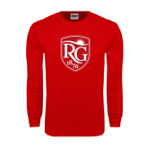 Red Long Sleeve T Shirt-Shield Logo