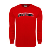 Red Long Sleeve T Shirt-Arched RedStorm Bottom