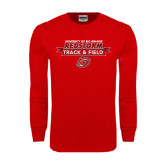 Red Long Sleeve T Shirt-Banner Track & Field