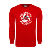 Red Long Sleeve T Shirt-Circular Volleyball