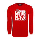 Red Long Sleeve T Shirt-Cheer Stacked