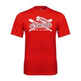 Performance Red Tee-Softball Crossed Bats