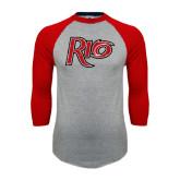 Grey/Red Raglan Baseball T Shirt-Rio Distressed