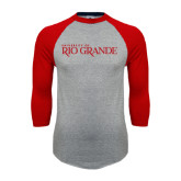 Grey/Red Raglan Baseball T Shirt-Institutional Mark