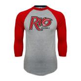 Grey/Red Raglan Baseball T Shirt-Baseball